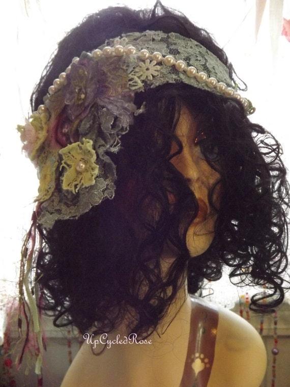 Victoria's Still Chic Shabby Couture Head Wrap Sash Romantic Easter Bonnet Summer Haute Couture Fashion Statement