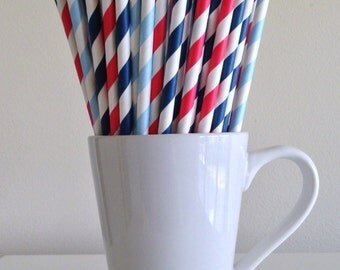 Red, Navy, Light Blue Striped Paper Straws Nautical Party Supplies Party Decor Bar Cart Cake Pop Sticks  Party Graduation