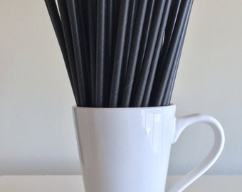 Black Paper Straws Solid Black Party Supplies Party Decor Bar Cart Cake Pop Stick Mason Jar Straw  Party Over the Hill Graduation