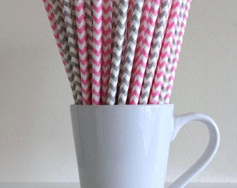 Pink and Gray Paper Straws Bubblegum Pink and Grey Chevron Party Supplies Party Decor Bar Cart Cake Pop Sticks Mason Jar Straws Graduation