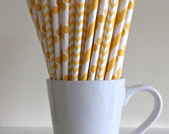 Yellow Paper Straws Golden Yellow Striped, Chevron, Polka Dot Party Supplies Party Decor Bar Cart Cake Pop Sticks  Graduation