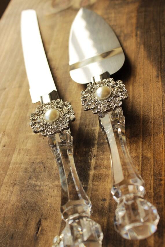 Wedding Cake Server And Knife Pearl And Rhinestone Wedding Cake