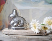 Tin Rabbit Chocolate Mold, Rustic Primitive Chocolate Rabbit Mold, Antique Chocolate Mold, Easter Bunny