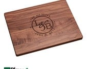 Personalized Engraved Cutting Board with Names & Initials Design 11x16x 3/4 or 9x12, Personalized Wedding Gift, Custom Cutting Board