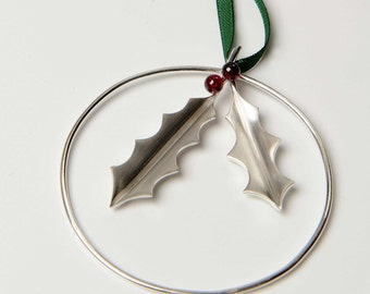 Silver Holly With Berries Christmas Decoration