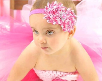 Pink Flower Headband, Pink Headband, Baby Girl Headband, Flower Girl Headband, Flower Headband, Pink and White Headband, Toddler Headband