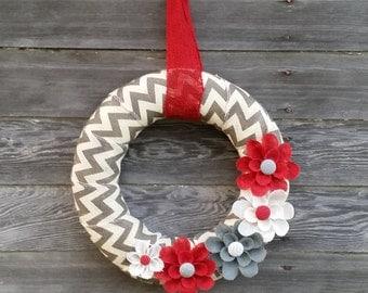 Chevron Wreath, Winter Wreath, Burlap Wreath, Holiday Wreath, Red and White Wreath