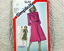 Dress, L, Simplicity 5644 Pattern for Women, FREE SHIP, Pullover, Flared, Elastic Waist, Shaped Ruffled Yoke, Collar, 1982 Uncut, Size 16