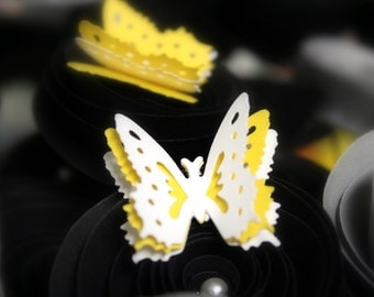 Scrapbook butterflies - Butterfly Confetti - 3d butterflies - Embellishments - Yellow and white - Birthday Confetti - Party Favors