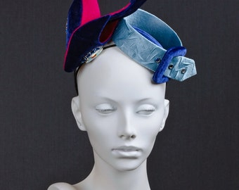 """Silk velvet couture hat in a shape of a pair of shoes and a belt """"Especial gift"""""""