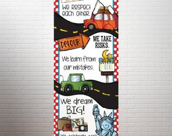 ROAD TRIP theme - Character Education Classroom Banner / X-LARGE / In Our Class