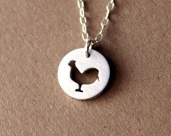 Handmade Tiny Sterling Silver Chicken Necklace - Handcrafted Silver Rooster Jewelry - Silver Necklace