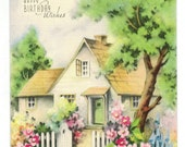 Vintage UNUSED Birthday Greeting Card 1940s Cottage Garden Picket Fence Gate Includes Envelope