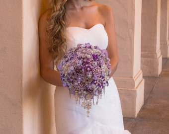 FULL PRICE  Beauty Drop Brooch Bouquet, custom made in your colors wedding jeweled brooch bouquet cascading bouquet