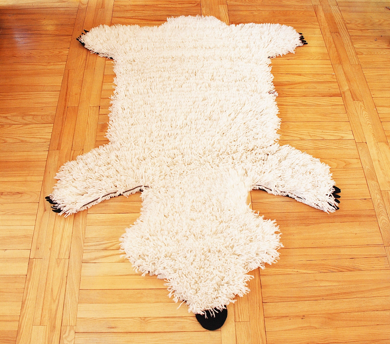 White Polar Bear Wool Rug Handmade Wool Rug Fluffy Soft