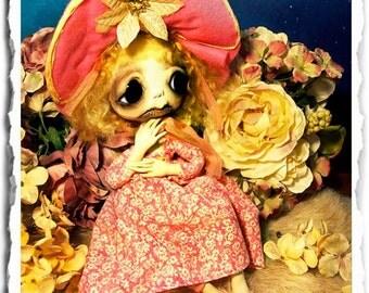 Gothic Art Doll OOAK, Creepy Cute, Fairy, Goth, Posable, Rabbit