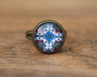 Blue Ring, Moroccan Ring, Adjustable Ring, Glass Dome Ring, Statement Ring