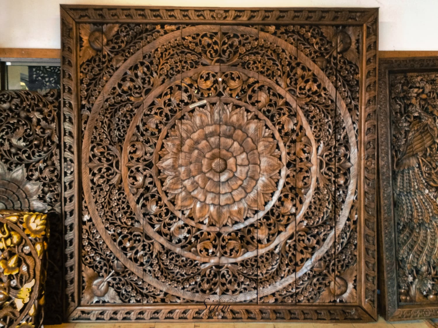 Large carved wood panel teak wood wall hanging by siamsawadee - Wood panel artwork ...