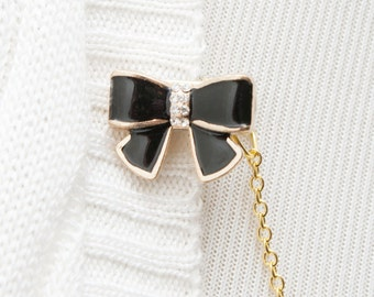 Sweater Clip - Black Bow Sweater Guard Clip