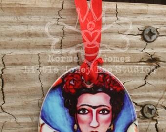 Frida Kahlo Porcelain Ornament, Frida Por Vida, Frida Ornament, Frida Kahlo Gifts, Frida Art, Mexican Folk Art, Sacred Heart, Chicana Art