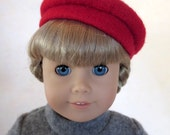 Red Boiled Woll Beret Hat for American Girl Doll / 18 inch Doll