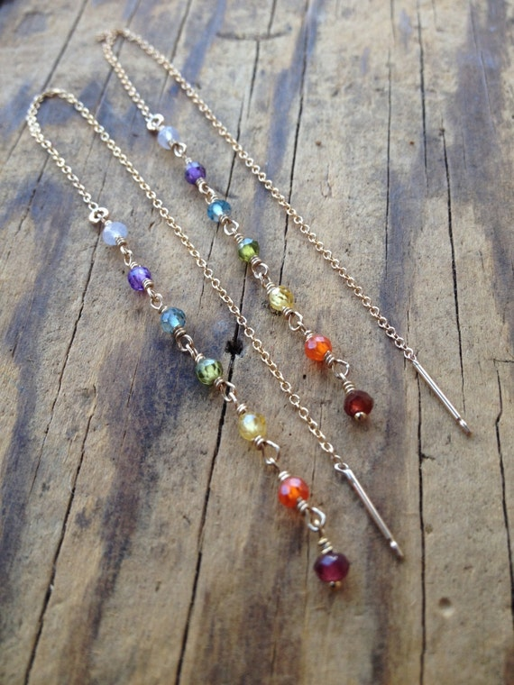 Chakra Threader Earrings , 7 Chakra Jewelry, Threader Earrings Aura Cleansing Healing Jewelry with Meaning,  Yoga Jewelry