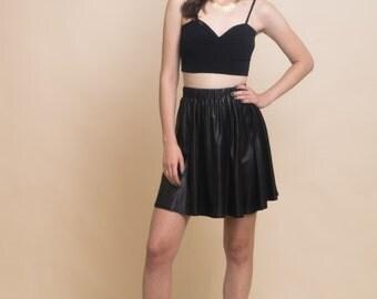 Black short skirt, shiny black skirt, mini skirt, party skirt, women's fashion, gift idea for women