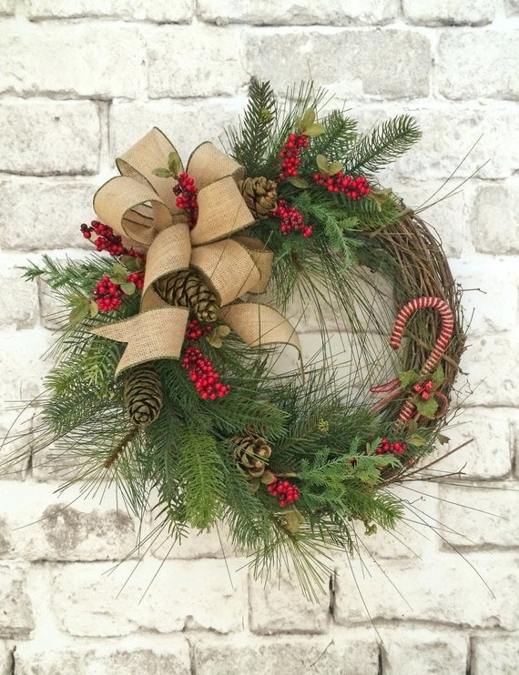 Candy Cane Christmas Wreath For Door Winter Wreath Christmas