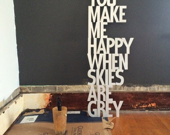 You Make Me Happy Metal Wall Art - You Are My Sunshine - Wall Art - Metal Art - Quotes for Wall - Song Lyrics - Happy Art