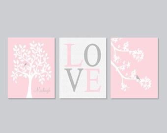 Baby Girl Nursery Decor Wall Art Pink Gray Nursery Tree Branch Birdie Name Set of 3 Prints Or Canvas Baby Shower Gift Girl Nursery Art