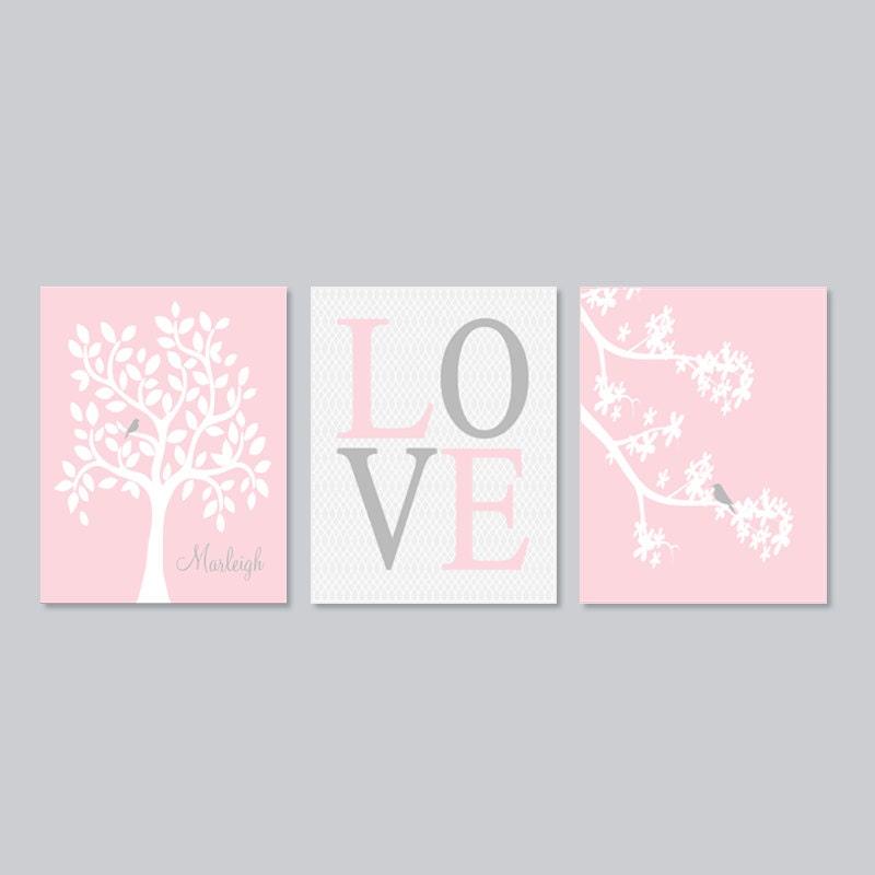 baby girl nursery decor wall art pink gray nursery tree branch. Black Bedroom Furniture Sets. Home Design Ideas