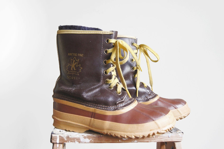 Vintage Sorel Arctic Pac Boots Brown Leather Rubber Yellow