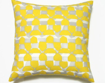 Modern Yellow Pillow, Yellow and Grey Geometric Pillow cover, Decorative Pillows, 18x18 Pillow Cover, Nate Berkus Caicos Paramount Sulfur