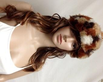 Free Ship ,Faux fur hat, 70s cap, patchwork,patchwork hat