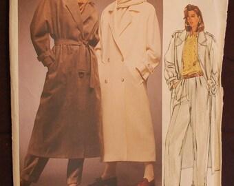 Vogue 1487 - Misses Coat and Pants - Vintage - 1984 - Ladies Trench Coat Pattern - Ladies Size 12