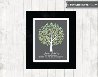Teacher Gift Present - Gift for Teacher from Kids Students Names - Apple Tree - Personalized Class Gift - Teacher Name - Art Canvas or Print