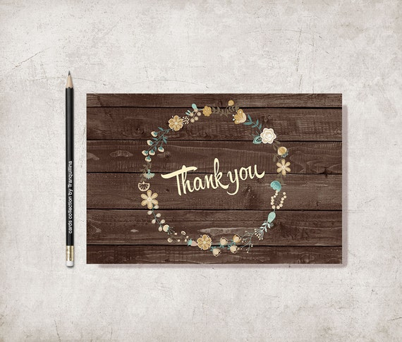 rustic thank you card printable floral thank you card