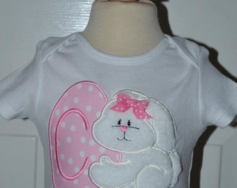 Personalized Easter Bunny with Egg Applique Shirt or Onesie Girl or Boy