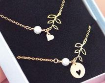 Gold Mother Daughter Bracelet Set, Heart Leaf Bracelet Set, Gold Filled, Bronze, Matching Bracelets