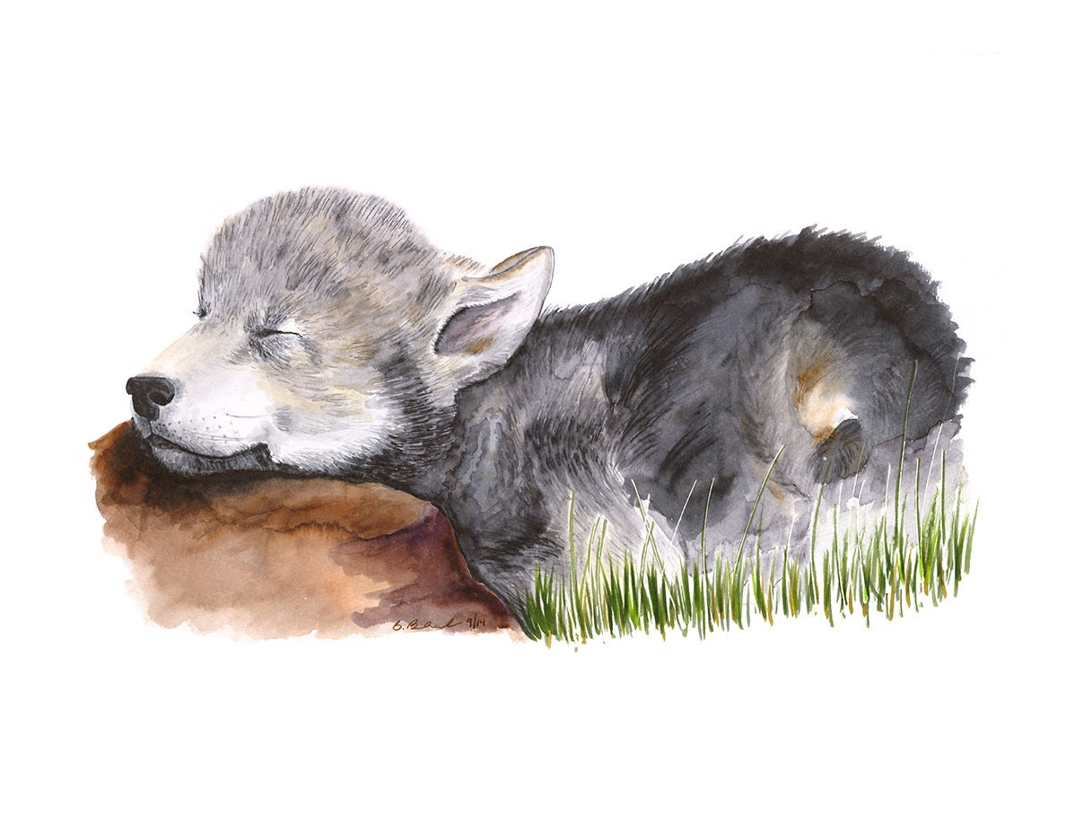 Baby Wolf Animal Art Wolf Painting Woodland by TinyToesDesign