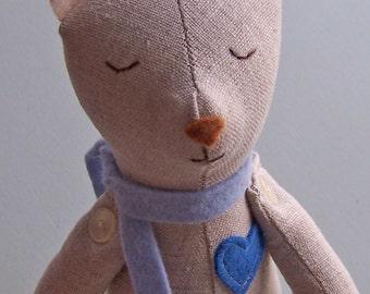 Linen Stuffed Bear PDF pattern, teddy bear, stuffed toy, stuffed animal, softie, plush, sewing pattern