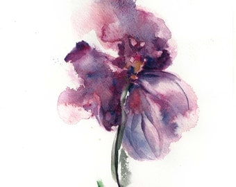 Original Watercolor Painting, Watercolour Floral Art, Purple Flower Painting