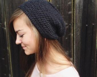 Crochet Slouchy Beanie for Men or Women - Dark Gray