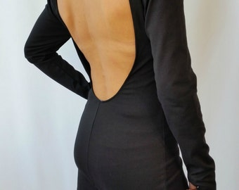 Black Backless Top / Women Blouse / Long Sleeve Open Back Slim Shirt, Asymmetric Shirt / EXPRESS SHIPPING / MD 10023