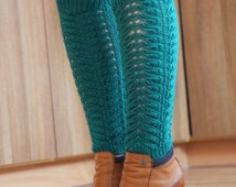 Leg warmers boot socks - emerald green long dress tights socks - hosiery cashmere wool leggings - spring knitted boot accessories for women