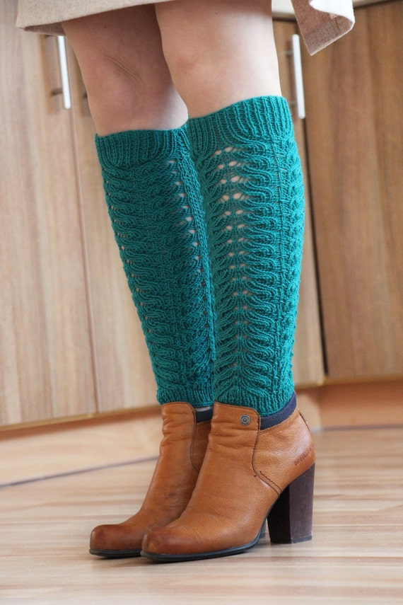 Leg warmers boot socks emerald green long dress tights socks