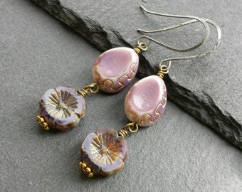 Flower Earrings, Pink Earrings, Lilac Earrings, Dangle Earrings, Purple Earrings