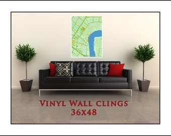 Custom Wall Cling.  Wall Decal of your City. Wall Cling 36x48. Choose You city or Town