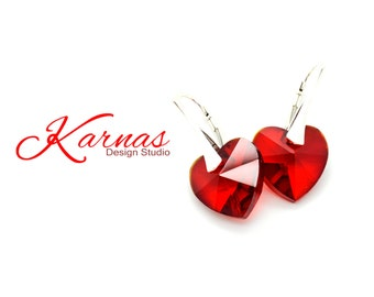 RED HOT 14MM Crystal Earrings Made With Swarovski Elements *925 Sterling Silver *Karnas Design Studio *Free Shipping*
