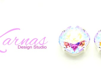 PINK POWDER PUFF 12mm Cushion Cut Stud Earrings Swarovski Elements *Pick Your Finish *Karnas Design Studio *Free Shipping*